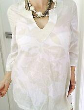 ESPRIT WOMENS TUNIC DRESS FLORAL PRINT COTTON 3/4 Sleeves WHITECREAM SZ 10