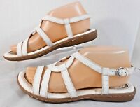 b•o•c Born Concept Womens Sandals Flats Sz 7 M Strappy Buckle Slingback White