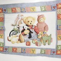 Vintage Blue Jean Teddy Bear Nursery Crib Quilt Baby Blanket