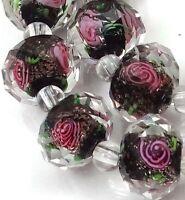 14 Czech Glass Faceted Rondelle Beads - Black Encased Rose Flower 12x8mm