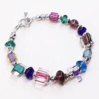 "7"", Vtg Sterling Silver Handmade Bracelet, 925 Beads W/ Colorful Glass Beads"
