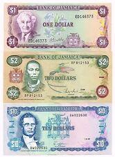 LOT OF THREE 1981-89 JAMAICA 1, 2, 10 DOLLARS NOTES - p59b,69b,71c
