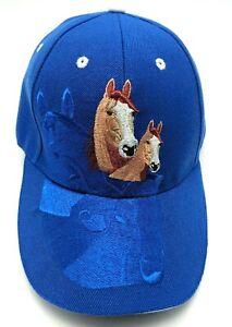 HORSE / HORSES hat bay color with a blaze - blue adjustable cap