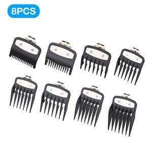8Pcs/Set Hair Clipper Limit Comb Guide Attachment Multi Size Barber Tool Black