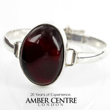 Bangle Elegant Cherry Baltic Amber 925 Sterling Silver Handmade Ban114 RRP£295!!