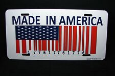 MADE IN AMERICA AND AMERICAN FLAG  METAL LICENSE PLATE TAG FOR CARS