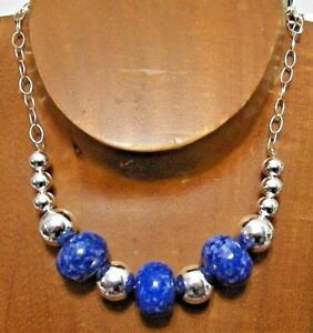 Spectacular Large Sterling Silver Natural LAPIS Beaded Necklace...Handmade USA