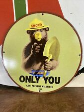 """New Listing1954 Vintage Style """"Smokey The Bear' Gas & Oil Plate Porcelain Sign 12 Inch"""