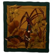 SETISSIMA TABLEAU FLORAL GREEN LARGE HAND ROLLED Silk Scarf 35/32 INCHES