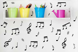 32 Music Notes Wall Removable Stickers Vinyl Kid's Room Laptop Car Fridge Decal
