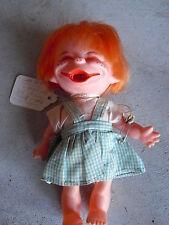 "Vintage Plastic Oddball Orange Hair Character Girl Doll 6 3/4"" Tall"