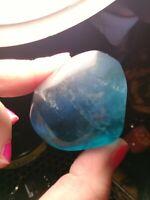 all blue flourite palm stone crystal quartz polished natural