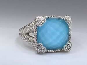 Judith Ripka Sterling Silver Turquoise Doublet Diamonique Ring Sz 7