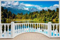 Huge 3D Balcony Exotic Mountain Wall Stickers Mural Decal Wallpaper S10
