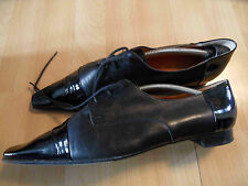 LARIO chice spitz zulaufende Schnürschuhe schwarz Gr. 40,5 TOP  BSu516