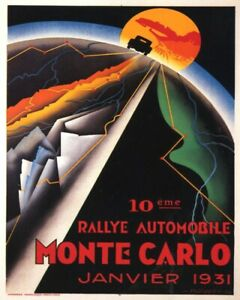 POSTER 1931 MONACO MONTE CARLO CAR AUTOMOBILE RALLY VINTAGE REPRO FREE S/H