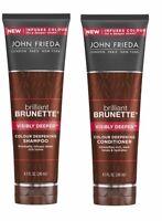 John Frieda Brilliant Brunette Shampoo & Conditioner For Coloured Hair 250ml