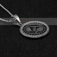 "Men's Silver Tone Stainless Steel Free Mason Medallion Pendant 3mm 24"" Box Chain"