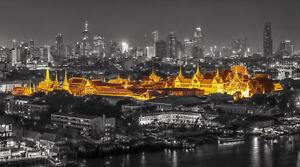 Leinwandbild Bangkok 100x70cm Thailand Gold Schwarz Weiß Wandbild Kunst 16isa