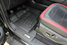 Front & Second Row Black Floor Mats for a 2015 - 2017 Ford F150 Super Cab