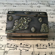 Rare Antique French Silver Plated Stamp Box Fleur de Lys Clovers c1900