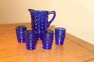 Vintage Miniature Cobalt Blue Hobnail  Pitcher with 4 glasses( 5 piece Set )