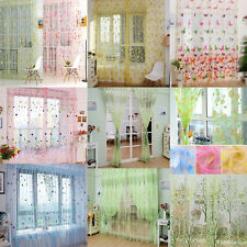 Flower Butterfly Voile Net Curtain Sheer Window Door Divider Panel 37''x 79'' UK Golden Rose Pink 95x200cm