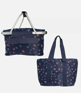 2pc Set Large Insulated Picnic Basket & Tote Bag Pockets Zipper Red White Blue