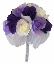 Purple Lavender And Ivory Silk Rose Hand Tie - 24 Roses - Silk Bridal Bouquet