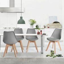 Ensemble de 4 chaises de cuisine en bois rétro Tulip rembourré Gris
