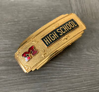 RARE VINTAGE Modesto California HIGH SCHOOL ADVERTISING BELT BUCKLE Monogram M