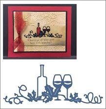 Wine a Bit metal die - Cheery Lynn cutting dies B495 glasses,bottle,leaves
