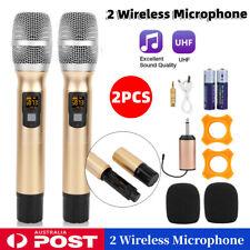 2pcs Wireless Microphone System Professional Cordless Mic Karaoke Vocal Stage AU