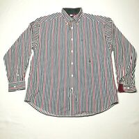 Vintage Tommy Hilfiger Button Down Shirt Mens M White Red Striped Crest Logo