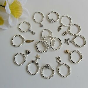SALE!!! Stunning Silver ball beads stretch finger ring in many variation Gift UK