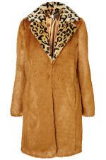 Topshop Ginger Faux Fur Leopard Collar Boyfriend Coat Jacket Vintage UK10 38 US6