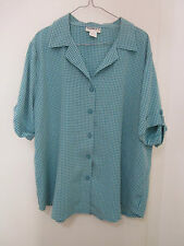 MILLERS, GREEN CHECK BLOUSE, SIZE 18