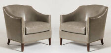 Pair of (2) Madison Leather Club Chairs In London Fog Grey