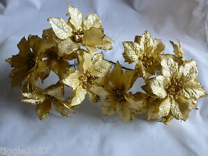 4 x 6 (24) x 60 mm Christmas Gold Glitter wired  Poinsettia
