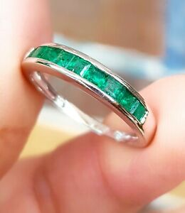 Natural 0.8ct Emerald Wedding Band Eternity Solid 9K White Gold Ring Engagement