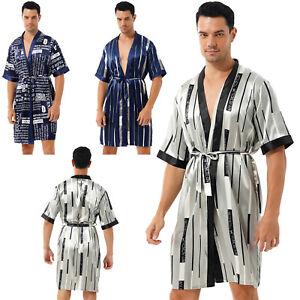 Men Kimono Bathrobe Silk Satin Night-robe Open Front Short Sleeve Robe Nightwear