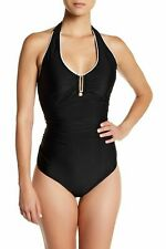 $110 Jones New York Women's Tummy Control Bathing Suit Swimsuit SZ 12 Black NWT