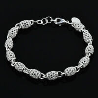 Women's Silver Chain Bangle Charm Bracelet Wedding Party Jewelry Christmas Gifts