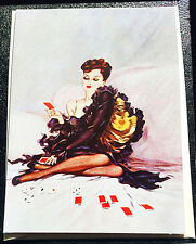 RETRO 20's NOTE CARD Sexy Lady in Lingerie Plays Solitaire NOS/MINT MPL UK