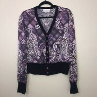 St. John Silk Cardigan Blouse Shirt 12 Purple Animal Print Plaid