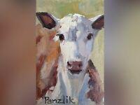 Cow Art miniatures ACEO card ATC Sketch Card Original mini oil painting canvas