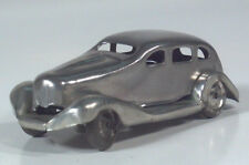 "Vintage 1950s Style Tin Classic Silver Car 3.5"" Scale Model Japan"