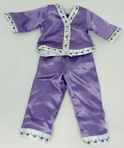 """American Girl 18"""" Doll Nellie's Purple Satin Embroidered Pajamas"""