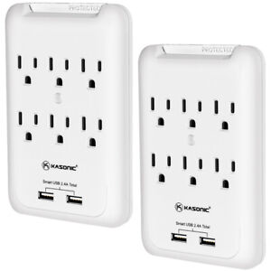 Power Outlet Wall Mount, 6 AC Socket Surge Protector with 2-USB Charging