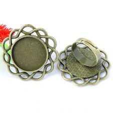 Antiqued Bronze Alloy Round Pattern Cameo Setting Adjustable Rings 17*17mm 16PCS